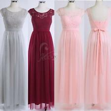 Womens Long Wedding Bridesmaid Lace Prom Ball Cocktail Party Evening Tulle Dress