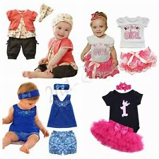 Newborn Baby Girls Tops Romper Floral Shorts Skirts Pants Outfits Set Clothes