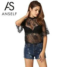 Women Lace See Through Short Sleeve High Neck Mesh Sheer Top Shirt Blouse F7D7
