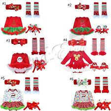 Christmas Girls Infant Baby Romper Clothes Headband Costume Outfits Tutu Dress