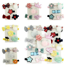 5Pcs/set Fluffy Tails Flower Star Hairpin Baby Girl Kids Hair Clip Bow Barrettes
