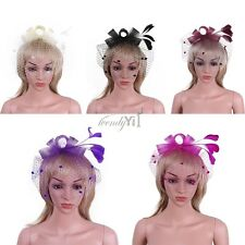 Women Bowknot Netted Fascinator Hair Clip Hat Feather Party Cocktail Headwear