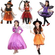 Kids Girl Children Witch Pirate Halloween Cosplay Costumes Party Fancy Dress Set