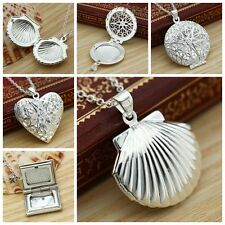 925 Sterling Silver Book Round Heart Photo Locket Charm Pendant Necklace Chain