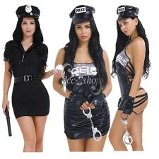 Womens Police Cop Officer Costume Halloween Policewoman Uniform Cosplay Lingerie