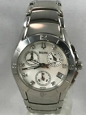 Ladies Bulova 96P006 Stainless Steel Diamond Accented Chronograph MOP Dial Watch