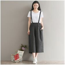 Lady Linen Strap Tousers Striped Overalls Dungarees Cropped Rompers Loose Black