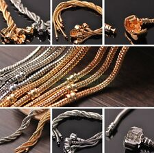 Silver/Gold Plated Snake Chain Bracelet Plain Clasp fit European Charm Jewelry