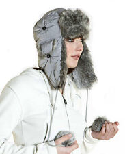 New Womens Faux Fur Trim Snowflake Stitched Trapper Warm Winter Thermal Hat