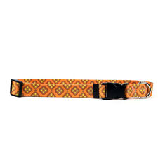 Dog Puppy Designer Collar - Yellow Dog - Made In USA - Cleo Orange
