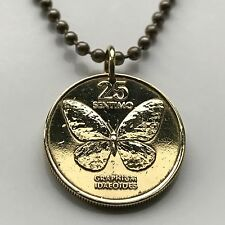 Philippines 25 sentimo coin pendant Filipino Swallowtail Butterfly cute n000780