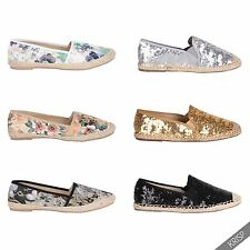 Womens Glitter Lace Espadrille Shoes Holiday Pumps Casual Comfort Loafers Size