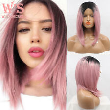 Hot Ombre Wig Short Curly Straight Synthetic Hair Lace Front Wigs Halloween Cos