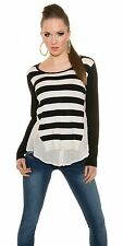 New trendy KouCla 2 in 1 Striped Sweater Blouse Striped Sweater Jumper !1557