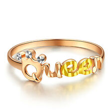 Hot Sale Pure 18K Multi-tone Gold Elegant Queen Design Woman's Lucky Ring US 5-8