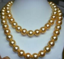 """Long 18"""" 24"""" 36"""" 50"""" 8-12mm South Golden Sea Shell Pearl Round Bead Necklace AAA"""