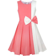 Girls Dress Color Block Contrast Bow Tie Coral White Party Size 4-14