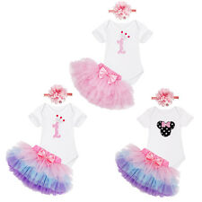 Girls Toddler Baby Headband +Romper Jumpsuit +Skirt 1st Birthday Outfits Clothes