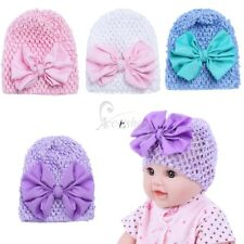 Newborn Infant Baby Girls Kids Big Bowknot Soft Knitted Hospital Beanie Hat Cap