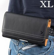 for XL ALCATEL Phone - BLACK Leather PU Pouch Holder Belt Clip Loop Holster Case