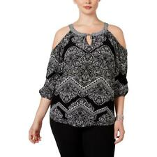 INC 6741 Womens Paisley Gauze Cold Shoulder Casual Top Blouse Plus BHFO