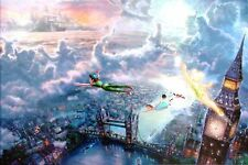 Kinkade Disney Tinker Bell and Peter Pan Fly to Neverland 12x16 Classic Edition