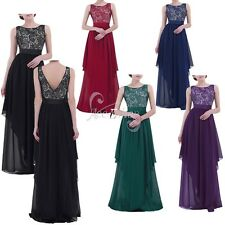 Women Lace Chiffon Formal Cocktail Party Prom Bridesmaid Maxi Long Evening Dress