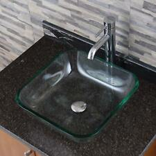 Clear Square Tempered Glass Bathroom Vessel Sink With Faucet Combo