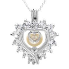925 Sterling Silver 1.12 Carat CZ Heart Pearl Cage Pendant & Necklace