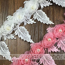 2 Yards White Pink Stereo Rose Chiffon Fringe Lace Trim Embroidery Ribbon Sewing
