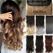 Real Thick Clip In Hair Extensions Long Curly Full Head Hair Extention Brown LC