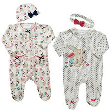 Baby Girls Sleepsuit BabyGro Two Styles with Hat or Headband Newborn to 9-12 mth