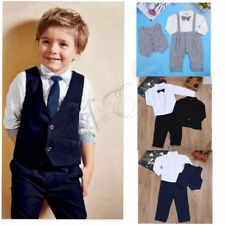 Baby Boys Gentleman Romper Formal Outfits Suit Shirt Pants Vest Outwear Sets