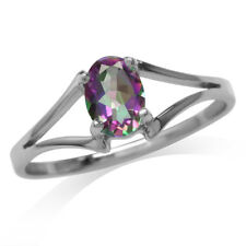 0.85 ct. Rainbow Fire Topaz 925 Sterling Silver Solitaire Ring