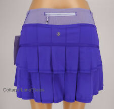 NEW LULULEMON Pace Setter Skirt 2 4 TALL Bruised Berry Wee Stripe Purple NWT