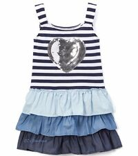 Girls SWEET VINTAGE striped sundress 8 & 10 NWT sequin heart tiered ruffles