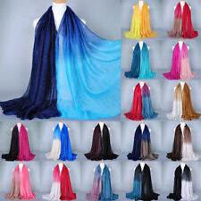 Vintage Women Ladies Voile Glitter Gradient Long Scarf Pashmina Wrap Shawl Stole