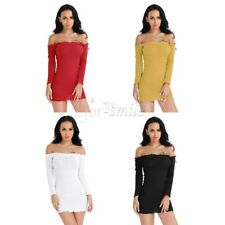 Women Off Shoulder Bodycon Evening Party Cocktail Knitted Mini Sweater Dress