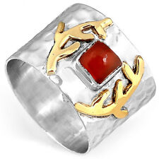 Solid 925 Sterling Silver Hammered Ring Carnelian Gemstone Band Boho Size