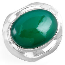 Women Solid 925 Sterling Silver Ring Nutural Green Onyx Gemstone Size 7.5 8