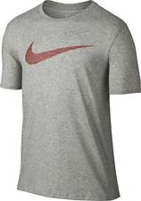 NIKE Mens Dri-FIT COTTON SWOOSH HEATHERED Training Tee *DK GRAY HEATHER - L* NWT