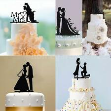 Wedding Cake Topper Groom Bride Silhouette Acrylic Celebration Party Decor W3M8