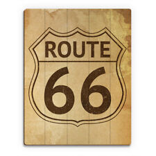 'Route 66' Brown Wood Stained Vintage-style Wall Art