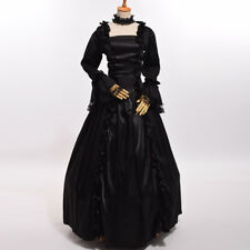 Vintage Victorian Black Lolita Dress Reenactment Gothic Ball Gown With Crinoline