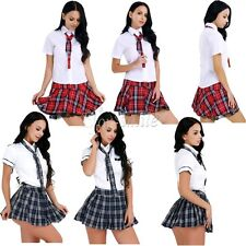 Sexy School Girl Uniform Women Lingerie Naughty Student Plaid Outfit Fancy Dress