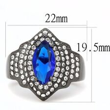 Royal Blue Marquise CZ Light Black IP Stainless Steel Womens Cocktail Ring
