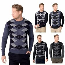 Mens Argyle Print Crew Neck Long Sleeve Grandad Golf Jumper Sweater Pullover Top