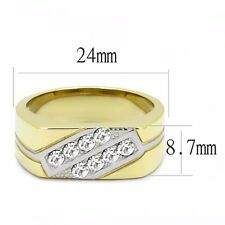 Clear Round CZ Set in Two Tone IP Gold Stainless Steel Mens Wedding Band Ring