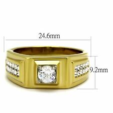 0.5Ct Round Cut CZ Center Two Row Side Stones Gold IP Stainless Steel Mens Ring