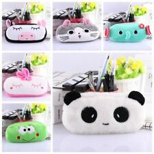 Cartoon Animal Pencil Pen Case Soft Plush Makeup Cosmetic Pouch Bag Zipper U